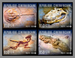 CENTRALAFRICA 2020 MNH Fossils Fossilien Fossiles 4v - OFFICIAL ISSUE - DHQ2031 - Fossils