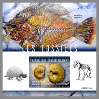 CENTRALAFRICA 2020 MNH Fossils Fossilien Fossiles S/S - OFFICIAL ISSUE - DHQ2031 - Fossils