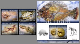 CENTRALAFRICA 2020 MNH Fossils Fossilien Fossiles 4v+S/S - OFFICIAL ISSUE - DHQ2031 - Fossils