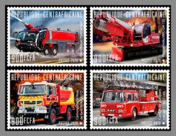 CENTRALAFRICA 2020 MNH Fire Engines Feuerwehr Fahrzeuge Camions De Pompiers 4v - IMPERFORATED - DHQ2031 - Pompieri