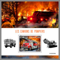CENTRALAFRICA 2020 MNH Fire Engines Feuerwehr Fahrzeuge Camions De Pompiers S/S - IMPERFORATED - DHQ2031 - Pompieri