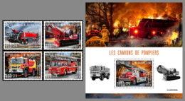 CENTRALAFRICA 2020 MNH Fire Engines Feuerwehr Fahrzeuge Camions De Pompiers 4v+S/S - IMPERFORATED - DHQ2031 - Pompieri