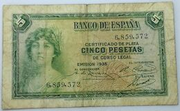Billete 1935. 5 Pesetas. República Española. Pre Guerra Civil. Sin Serie. SS. MBC. - [ 2] 1931-1936 : Repubblica