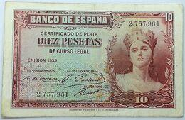 Billete 1935. 10 Pesetas. República Española. Pre Guerra Civil. Sin Serie. SS. MBC - 10 Pesetas