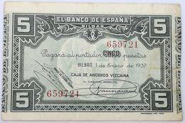 Billete 1937. 5 Pesetas. Bilbao. República Española. Guerra Civil. SS. Sin Serie. MBC. Caja De Ahorros Vizcaina. Banco - [ 2] 1931-1936 : Repubblica