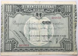 Billete 1937. 100 Pesetas. Bilbao. República Española. Guerra Civil. SS. Sin Serie. MBC. Caja De Ahorros Y Monte Piedad - [ 2] 1931-1936 : Repubblica
