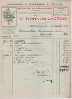 VP22/ Facture Imprimerie Papeterie Reliure V.Nonnon-Lacroix Godarville 1940 - Printing & Stationeries