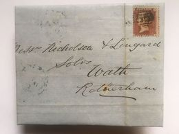 GB 1855 Victoria Entire With Rotherham Marks Tied With 1d Red Star - Storia Postale