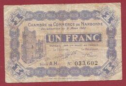 1 Francs  Chambre De Commerce De Narbonne    Dans L 'état (35) - Chambre De Commerce