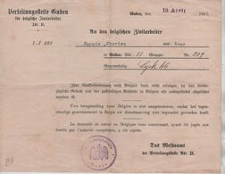 VP27/ Verteilungstelle Guben Für Belgische Zivilarbeiter Guben 12/4/1917 Dupuis Charles Roux - Autres