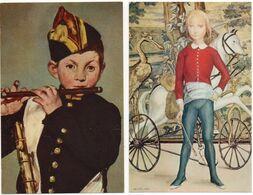 2 CP -  Peintures Portraits D'Enfants Edité Par Le Comité National De L'Enfance - Pittura & Quadri