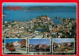 4 AK Norwegen * Ansichten Der Stadt Bergen - Luftbildaufnahmen Und Das Marktgeschehen * - Norwegen