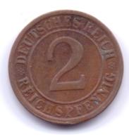 DEUTSCHES REICH 1924 G: 2 Reichspfennig, KM 38 - [ 3] 1918-1933 : Republique De Weimar