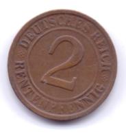 DEUTSCHES REICH 1924 D: 2 Rentenpfennig, KM 31 - [ 3] 1918-1933 : Republique De Weimar