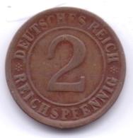 DEUTSCHES REICH 1924 D: 2 Reichspfennig, KM 38 - [ 3] 1918-1933 : Republique De Weimar