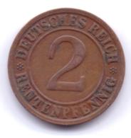 DEUTSCHES REICH 1923 D: 2 Rentenpfennig, KM 31 - [ 3] 1918-1933 : Republique De Weimar