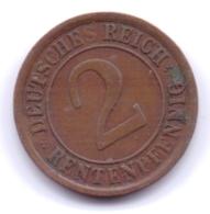 DEUTSCHES REICH 1923 A: 2 Rentenpfennig, KM 31 - [ 3] 1918-1933 : Republique De Weimar