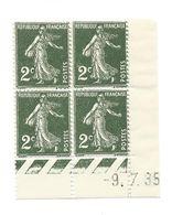 Semeuse Bloc De 4 - 2c Vert Foncé N° YT 278 - Coin Daté 9. 7. 35 - 1930-1939