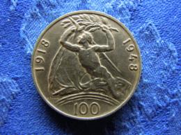 CZECHOSLOVAKIA 100 KORUN 1948, KM27 Cleaned - Tchécoslovaquie