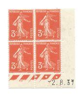 Semeuse Bloc De 4 - 3c Rouge Orange N° YT 278A - Coin Daté 2. 8. 37 - 1930-1939