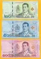 Thailand Set 20, 50, 100 Baht 2018 UNC Banknote - Tailandia