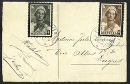 Belgique - Sur Carte N°411 Et 412 Deuil De La Reine Astrid - Obl. FRAMERIES - Storia Postale