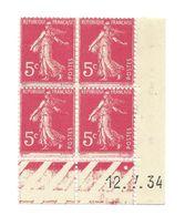 Semeuse Bloc De 4 - 5c Rose N° YT 278B - Coin Daté 12. 7. 34 - 1930-1939