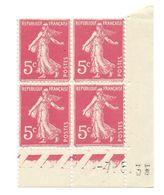 Semeuse Bloc De 4 - 5c Rose N° YT 278B - Coin Daté 7. 5. 35 - 1930-1939