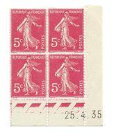 Semeuse Bloc De 4 - 5c Rose N° YT 278B - Coin Daté 25. 4. 35 - 1930-1939