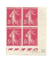 Semeuse Bloc De 4 - 5c Rose N° YT 278B - Coin Daté 2. 3. 36 - 1930-1939