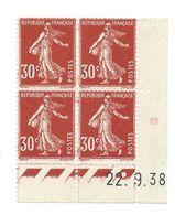 Semeuse Bloc De 4 - 30c Rouge Sombre N° YT 360 - Coin Daté 22. 9. 38 - 1930-1939