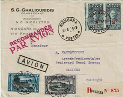 """T.P. 164(paire)+PA2+3 S/L. Recommandée PAR AVION (en Rouge) De NIANGARA (27-6-34) à MALINES + Griffe Encadrée """"AVION"""" - Airmail: Covers"""