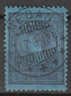 "Ned Indie 1906 Wilhelmina 1 Gulden Zwartblauw Op Blauw NVPH 60 Mooie Kortebalkstempel ""MEDAN"" . LUXE - Niederländisch-Indien"