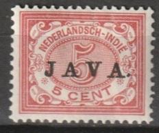"Ned Indie 1908 Wilhelmina 5 Ct ""JAVA"" NVPH 68 Ongestempeld - Niederländisch-Indien"