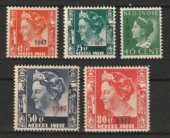 Ned Indie 1947 Hulpuitgifte NVPH 326-330 MNH/** Postfrisch - Niederländisch-Indien