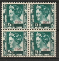 Ned Indie 1947 Hulpuitgifte 25ct Block Of 4 NVPH 327 MNH/** Postfrisch - Niederländisch-Indien