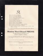 GAND UCCLE PIRENNE Henri-Edouard 1888-1935 Professeur Université De Gand Famille CAMBIER VANDERHAEGHEN DUESBERG - Obituary Notices