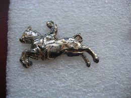 Pin's Argenté D'un Cavalier Sur Son Cheval - Dieren