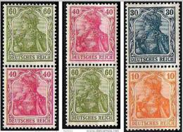 Deutsches Reich Allemagne Germany 1920: Germania-ZDR Se-tenant Michel-No. S17+S23+S25 * Mit Falz Avec Charnière MLH - Zusammendrucke