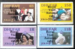 Royals Queen Elizabeth II , Surcharge Visit Autunum 1985, Dhufar Set 4v. Mnh - Timbres