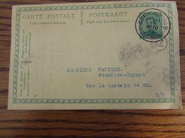 Entier Postal à 5C Oblitéré Par L'AGENCE DE FORTUNE De ST GILLES (BRUXELLES) 12 (bilingue) En 1919 (coin Supérieur Droit - Fortune Cancels (1919)