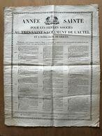 AFFICHE AN 1827 ANNEE SAINTE POUR LES FIDELES AU TRES SAINT SACREMENT DE L AUTEL ET A NOTRE DAME DE GRACES JESUS MARIE - Religione & Esoterismo