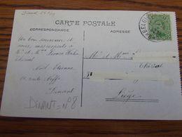 N° 137 (5C) Sur Carte Vue De Dinant Oblitérée De FORTUNE BELGIQUE-BELGIE N° 8 (= DINANT) (adresse Barrée Au Tipp-ex) - Fortune Cancels (1919)