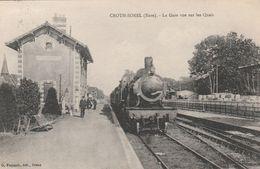 CPA:CROTH SOREL (27) TRAIN AU 1er PLAN GARE VUE SUR LES QUAIS....ÉCRITE - Altri Comuni