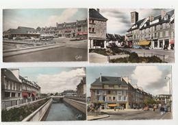 4 CPSM COULEUR:LA SUISSE NORMANDE CONDE SUR NOIREAU (14) QUARTIER ÉGLISE,PLACE MARCHÉ COUVERT,AVENUE DE VERDUN.......... - Francia