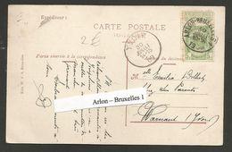 Belgique - Ambulants - Bruxelles-Arlon 1 - Sur Carte Vers Warnand - Cachet Arrivée Yvoir Du 30 Juillet 1909 - Postmark Collection