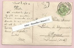 Belgique - Ambulants - Arlon-Bruxelles (Brussel)2 - Sur Carte Postale - Armoiries N°83 Du 21/8/1911 - Postmark Collection
