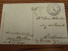 Carte Vue En Franchise De Bruges Oblitérée Par L'AGENCE DE FORTUNE De BRUGGE 14 (bilingue) En 1919 Pour Le RELAIS De ERE - Postmark Collection