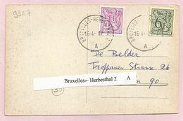 """Belgique - Ambulants - Bruxelles-Herbesthal 2 A - Sur Carte Du 16/04/1982 Vers Köln (Cologne) - Timbre """"Lion Héraldique"""" - Postmark Collection"""