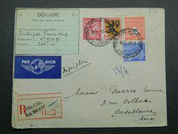 1945 Lettre Recommandée De Toulouse à Casablanca - Maroc Yvert 602, 654, 657 Et 708 Armoiries Flandre Iris Arc Triomphe - France